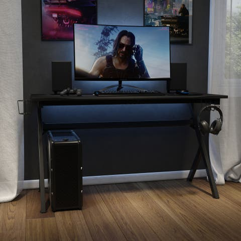 """55"""" Computer Gaming Desk - Headphone Holder - Cable Management - Mouse Pad"""