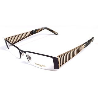 Boucheron Unisex Semi-Rectangle Eyeglasses Purple/Gold - Black - S