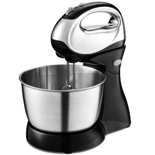 Costway 200W Stand Mixer Hand Mixer 5-Speed w/Dough Hooks & Beaters Stainless Steel Bowl - Black