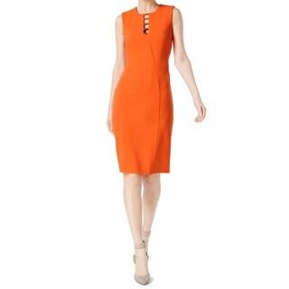 Calvin Klein Womens Ladder Cutout Crepe Sheath Dress