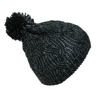 CTM® Girls' Cable Knit Winter Hat with Pom
