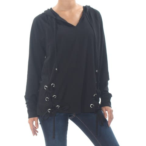 MICHAEL KORS Womens Black Lace Up Hoodie Long Sleeve V Neck Sweater Size: S