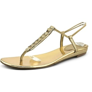 Style & Co Edithe Women Open Toe Synthetic Gold Thong Sandal
