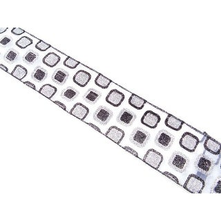 """Black and Gray Glittered Squares Contemporary Ribbon Spool 2.5"""" x 10 yards"""