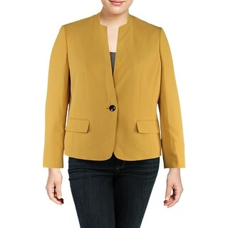 Kasper Womens Oriental Garden One-Button Blazer Crepe Office