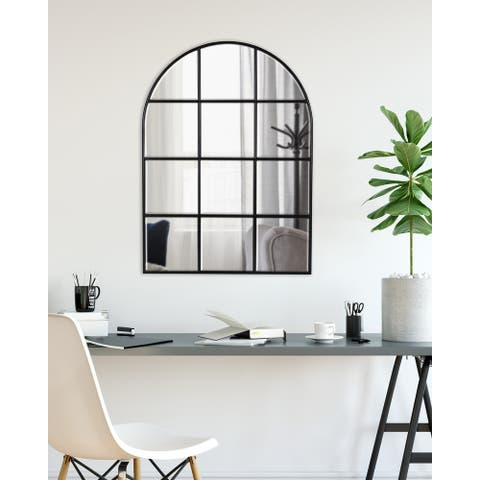 Kate and Laurel Denault Arch Windowpane Wall Mirror