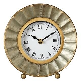 "Set of 2 Black and White Galvanized Metal Fluted Design Decorative Desk Clock 8"""