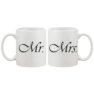Mr and Mrs Couple Mugs - His and Hers Matching Coffee Mug Cup Set - Perfect Wedding, Engagement, and Anniversary Gift