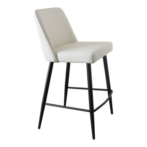 Aurelle Home Emmie Modern Faux Leather Counter Stool