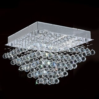 """Worldwide Lighting W33244C20 Icicle 5 Light 20"""" Wide Flush Mount Ceiling Fixture in Chrome with Clear Crystals"""