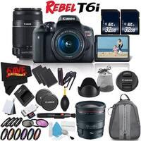 Canon Rebel T6i DSLR Camera w/ 18-55mm Lens International Version (No Warranty) + Canon EF 24mm Lens + Accessories Bundle