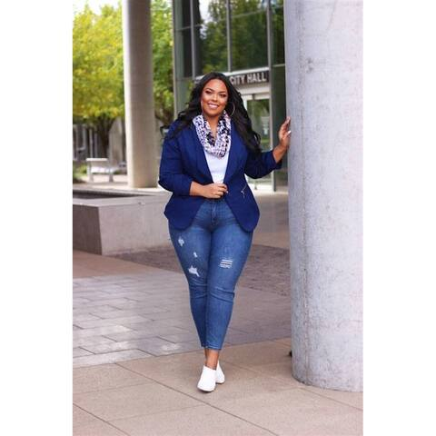 CITY CHIC Womens Blue Wear To Work Jacket Size S/16