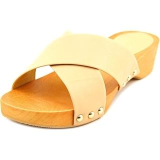 BCBGeneration Soho Women Open Toe Leather Tan Slides Sandal