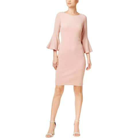 2c81e3eae27800 Calvin Klein Womens Cocktail Dress Knit Bell Sleeves