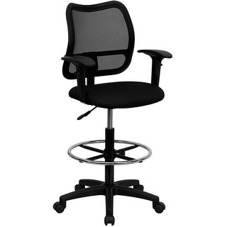 Boswell Mid-Back Black Mesh Professional Drafting Chair w/Adj Arms