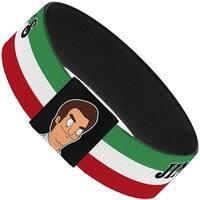 Jimmy Pesto's Pizzeria Stripe Green White Red Black Elastic Bracelet