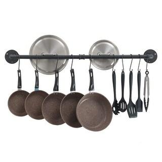 Pot Bar Rack Wall Mounted Detachable Pans Hanging Rail Kitchen Lids Utensils Hanger with 14 S Hooks Black