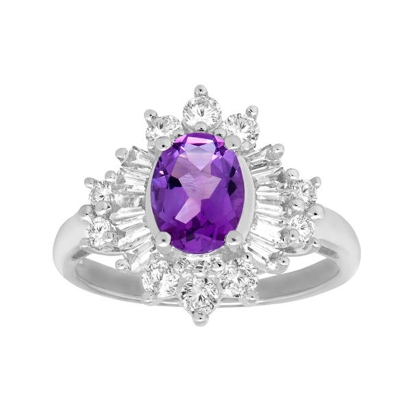 2 1/4 ct Oval Amethyst and White Sapphire Ring in Sterling Silver - Purple