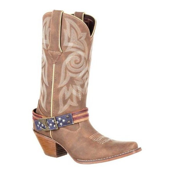 Durango Boot Women's DRD0208 Crush Flag Accessory Western Cowgirl Boot Brown Khaki Full Grain Leather