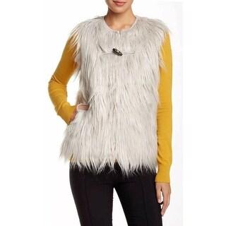 BCBG Generation NEW Silver Women's Size Medium M Faux Fur Vest Jacket