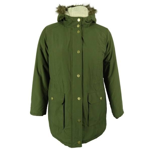 864861b551e Tommy Hilfiger Women's Faux Fur Trim Hooded Coat - olive night - XL