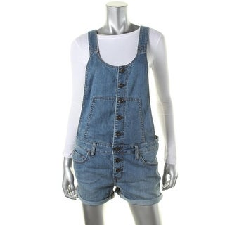 Free People Womens Denim Button-Down Shortalls - 25