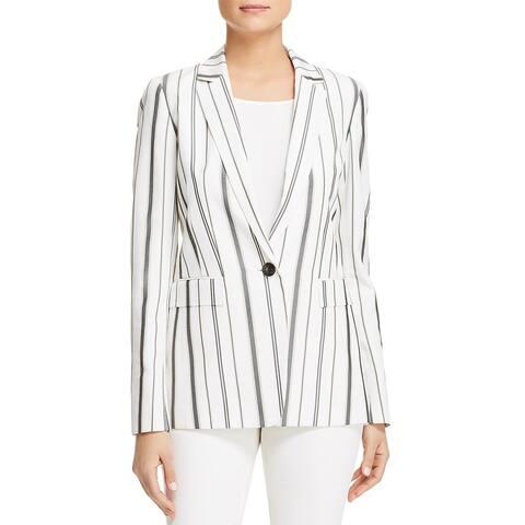 Lafayette 148 New York Womens Marie One-Button Blazer Silk Blend Striped