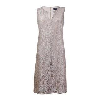 Jessica Howard Women's Lace Overlay Keyhole Dress - champagne