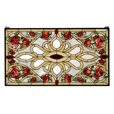 Meyda Tiffany 67139 Stained Glass Tiffany Window from the Red Roses Collection - n/a