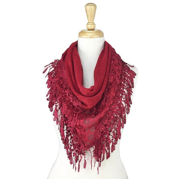 Women's Fancy Lace Fringes Triangle Scarf - Burgundy