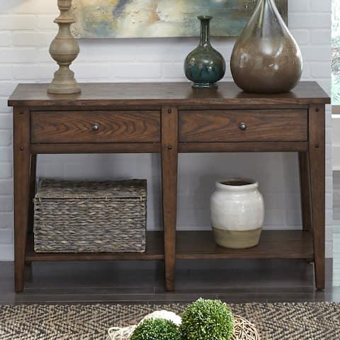 Lake House Rustic Brown Oak Sofa Table
