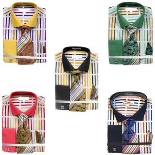Men's Bold Stripe Pattern Dress Shirt French Cuffs Tie Hanky Cufflinks