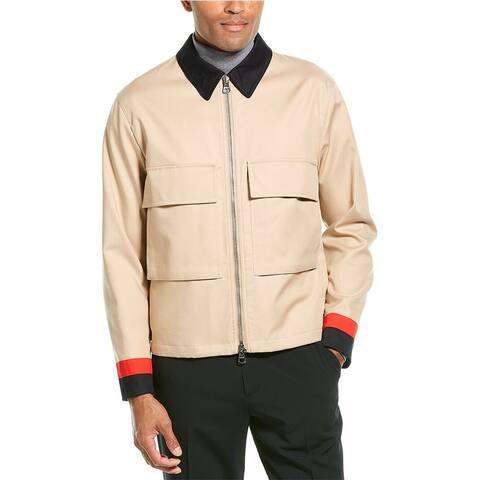 Burberry Stripe Detail Gabardine Field Jacket