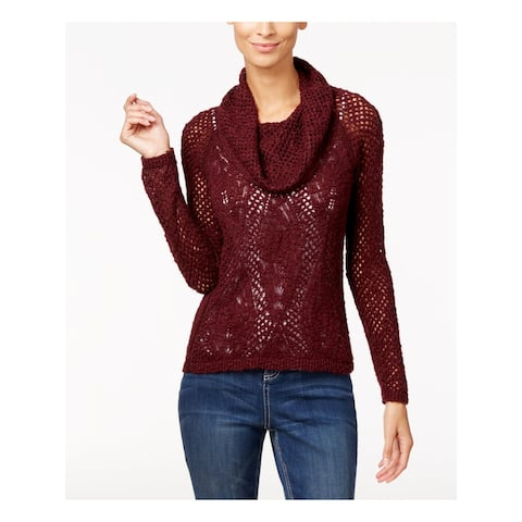 INC Womens Burgundy Long Sleeve Cowl Neck Sweater Size S
