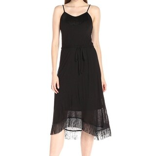 Kensie NEW Black Womens Size Small S Fringe Spaghetti Strap Sheath Dress