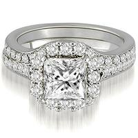 1.02 CT.TW Halo Princess And Round Cut Diamond Bridal Set,HI,SI1-2