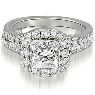 1.02 CT.TW Halo Princess And Round Cut Diamond Bridal Set,HI,SI1-2 (More options available)