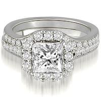 1.17ct.tw Princess And Round Cut Curved Single Halo Diamond Bridal Set HI, SI1-2