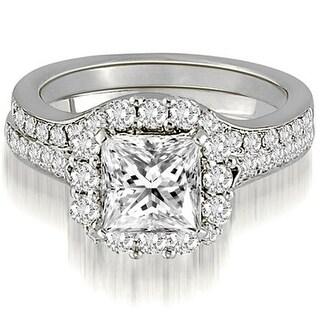 1.42 CT.TW Halo Princess And Round Cut Diamond Bridal Set - White H-I (Option: 10.25)