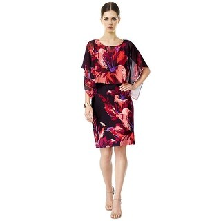 SLNY SL Fashions Floral Chiffon Cape Popover Cocktail Day Dress