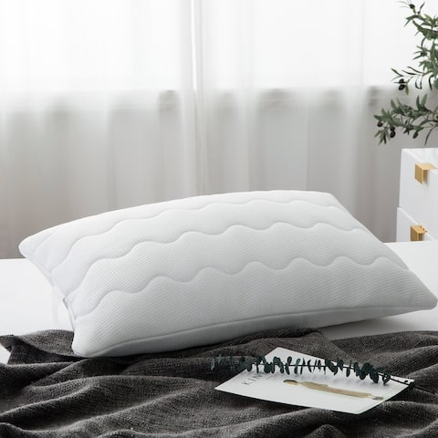 Cooling Premium Goose Feather Filled Pillow with Ice Silk Pillow Cover - White