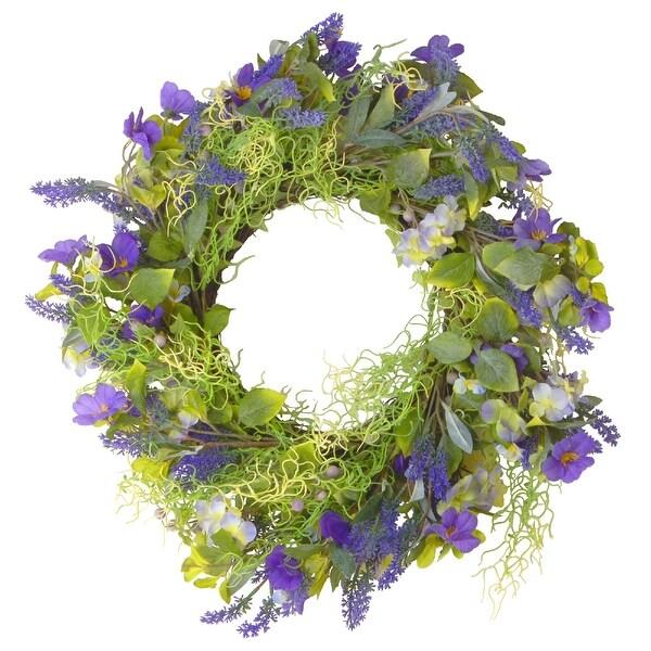 Purple Flower Wreath- 24-Inch, Unlit - N/A
