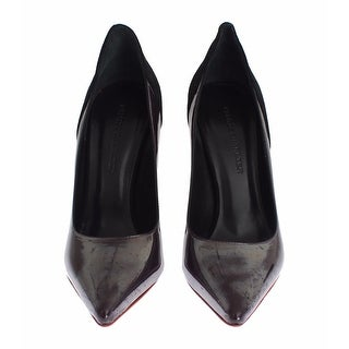 Dolce & Gabbana Gray Black Leather Suede Heels Pumps Shoes - 37