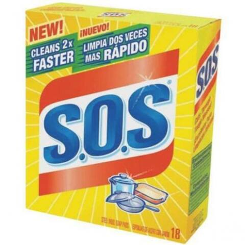SOS 98018 Steel Wool Soap Pad, 18-Count