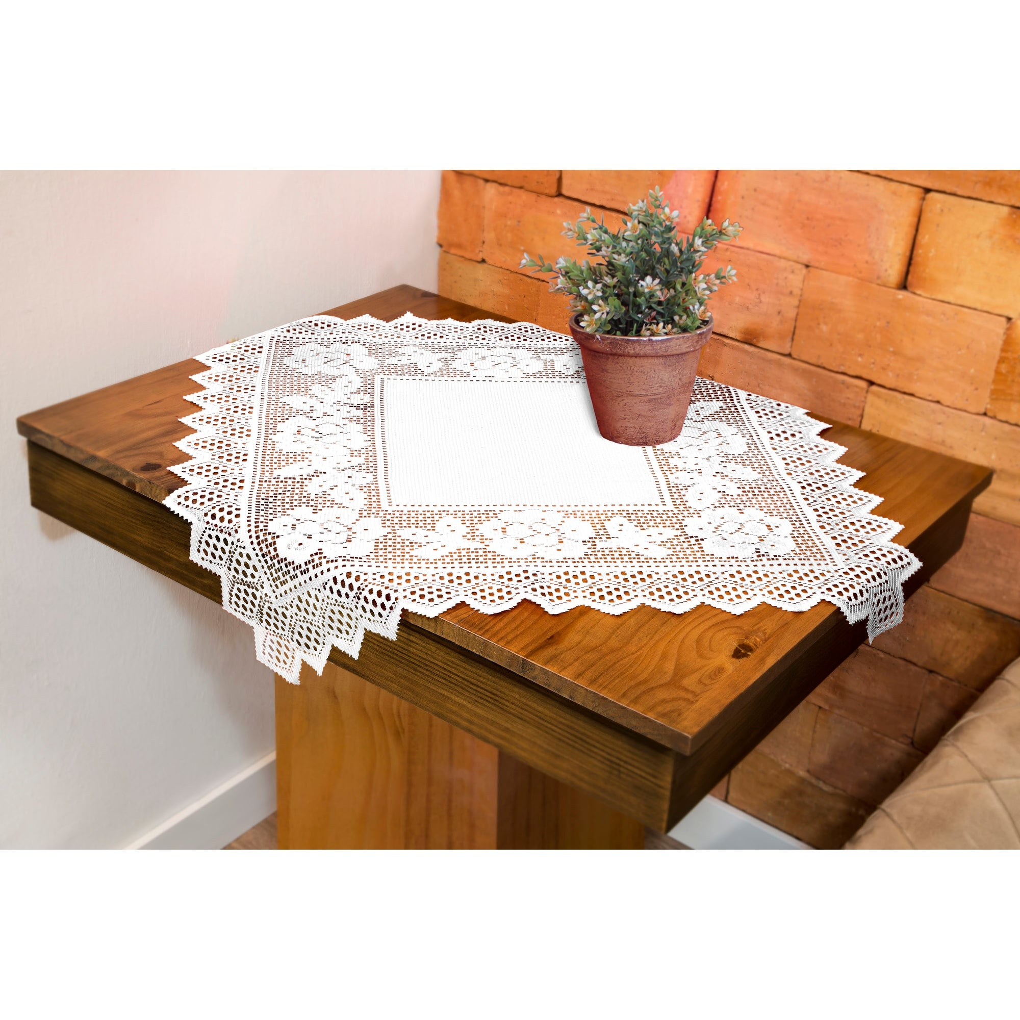 Table Topper Grega Design Brazilian Lace 29x29 Inches White Color 100 Percent Polyester - Thumbnail 0