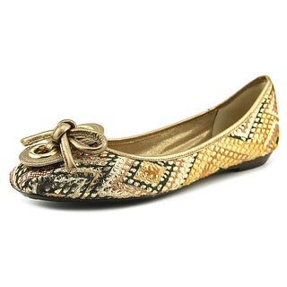 J. Renee Edie Women Square Toe Canvas Gold Flats