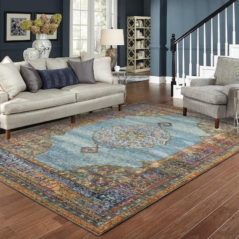 "Gracewood Hollow Morris Medallion Blue/ Multi Rug - 5'3"" x 7'3"""