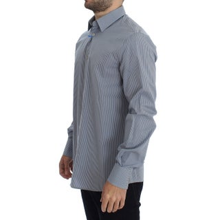 Versace Blue White Striped Cotton Shirt
