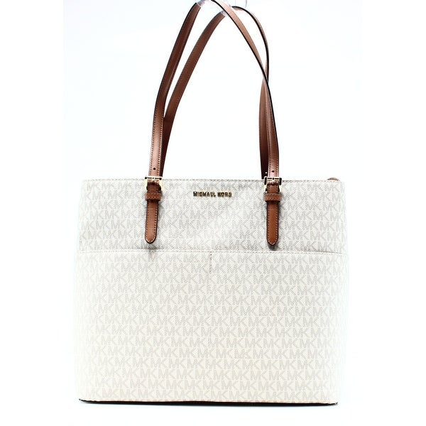 51ab946b50e55b Shop Michael Kors NEW White Ivory PVC Signature Bedford Pocket Tote ...