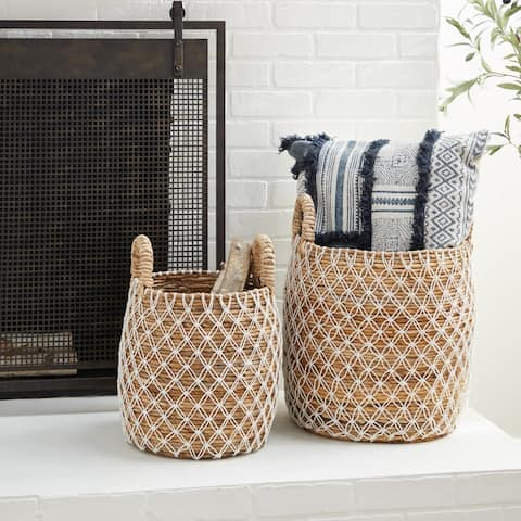 Brown Banana Leaf Natural Storage Basket (Set of 2) - 17 x 17 x 19